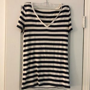 womens navy and white striped top